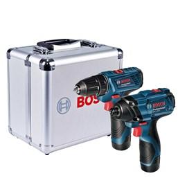 Combo Bosch Chave Impacto Gdr 120LI + Parafusadeira Furadeira Gsr 120 LI