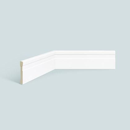 Rodapé de Poliestireno EspaçoFloor 7cm Slim Frisado Branco 70mm x 10mm x 2200mm