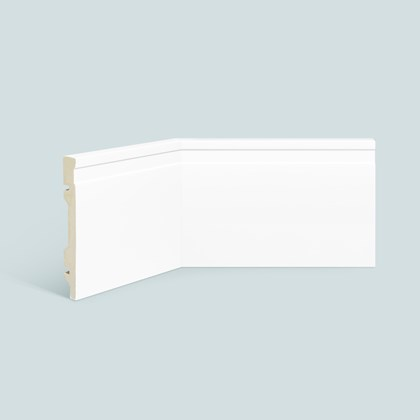 Rodapé de poliestireno EspaçoFloor frisado branco 15cm x 15mm x 2,20m