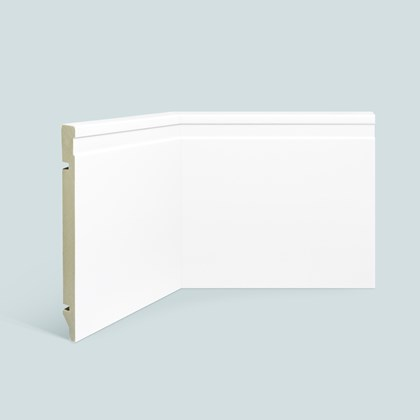 Rodapé de poliestireno EspaçoFloor frisado branco 20cm x 15mm x 2,20m