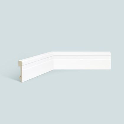 Rodapé de poliestireno EspaçoFloor frisado branco 7cm x 15mm x 2,20m