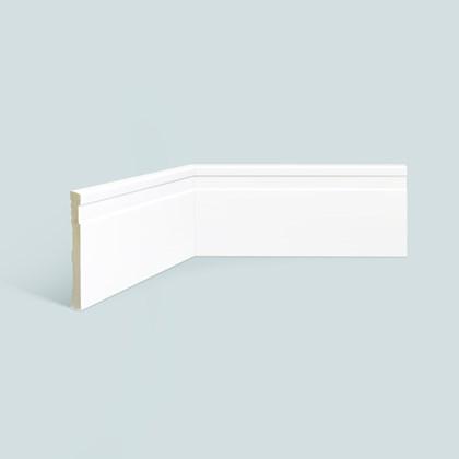 Rodapé de poliestireno EspaçoFloor frisado slim branco 10cm x 10mm x 2,20m