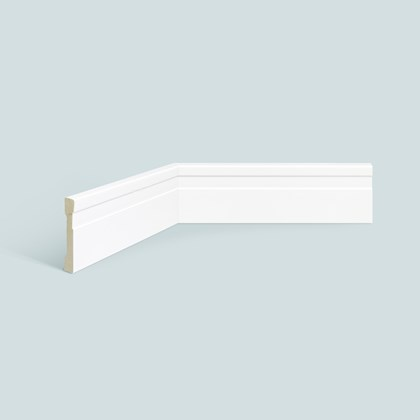 Rodapé de poliestireno EspaçoFloor frisado slim branco 7cm x 10mm x 2,20m