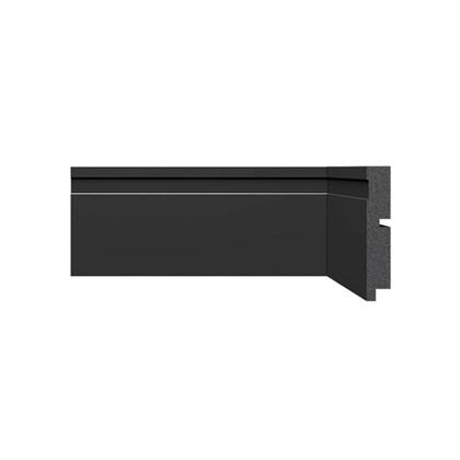 Rodapé de Poliestireno Santa Luzia Black 3457 10cm 3457 Preto 100mm x 16mm x 2400mm